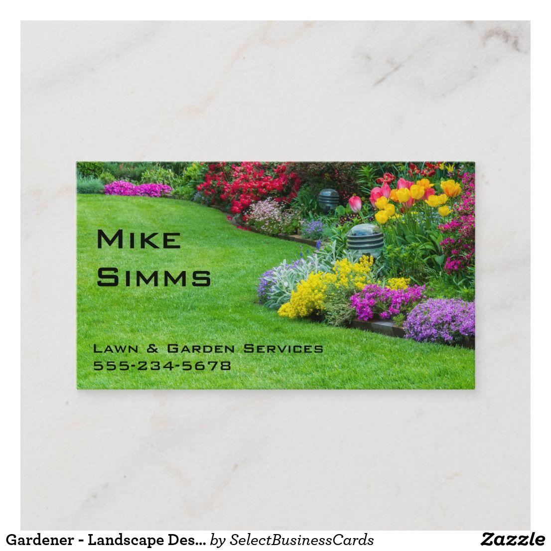Gardener Landscape Designer Lawn Care Business Card