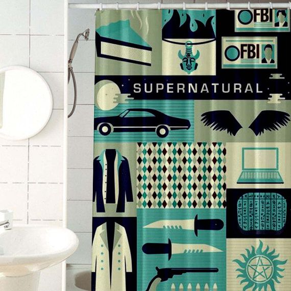 Supernatural Poster Custom Shower Curtains By Jennatarynspiller
