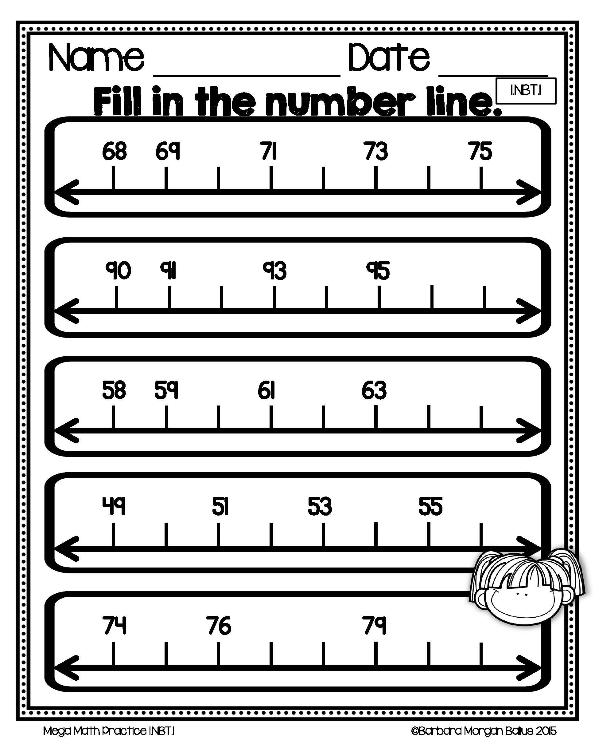 Numbers First Grade Math Counting And Number Lines Mega Practice 1 Nbt 1