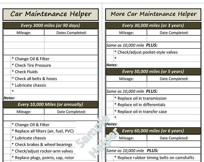 car maintenance checklist vehicle maintenance tracker printable