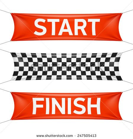 Starting and finishing lines, checkered banners Vector - stock