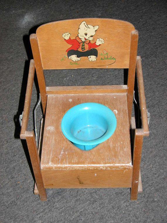 Antique Potty Chair 1950s Vintage Antique Childs Wooden