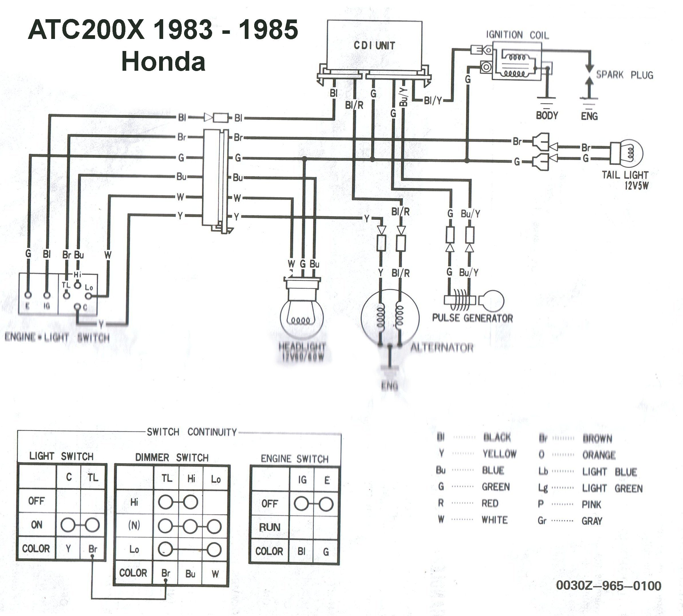 Wiring Diagram Honda Atc200x 1983 Thru 1985 Factory