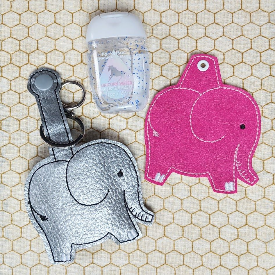 Elephant Hand Sanitizer Holder Key Fob Snap Tab December 2018