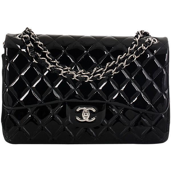 Pre Owned Chanel Black Quilted Patent Jumbo Classic Double Flap Bag Chanel Shoulder Bag Black Shoulder Bag Black Patent Leather Handbags