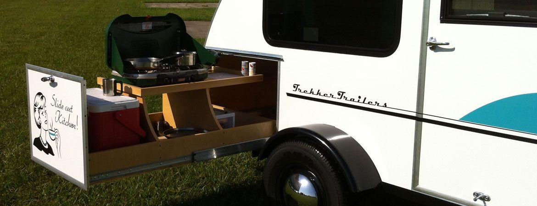Trekker teardrop trailer kitchen slide i want this for Teardrop camper kitchen ideas