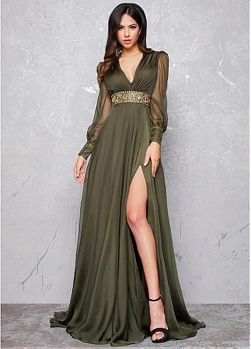 [150.59] Elegant Silk-like Chiffon V-neck Neckline Long Sleeves A-line Evening Dress With Beadings & Slit - magbridal.com.cn