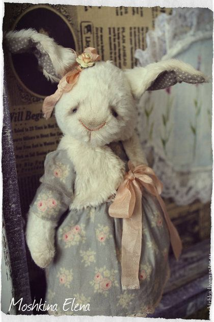 Люси - белый,белая кроличка,кролик тедди,винтаж,винтажная кроличка,кролик винтаж