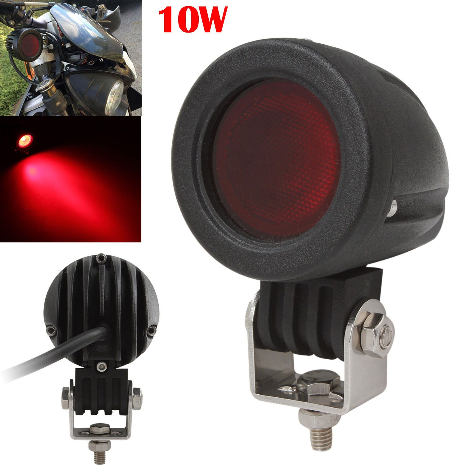 Waterproof 10W 12V/24V 1000LM Red CREE LED Work Light Car Offraod Fog Headlamp