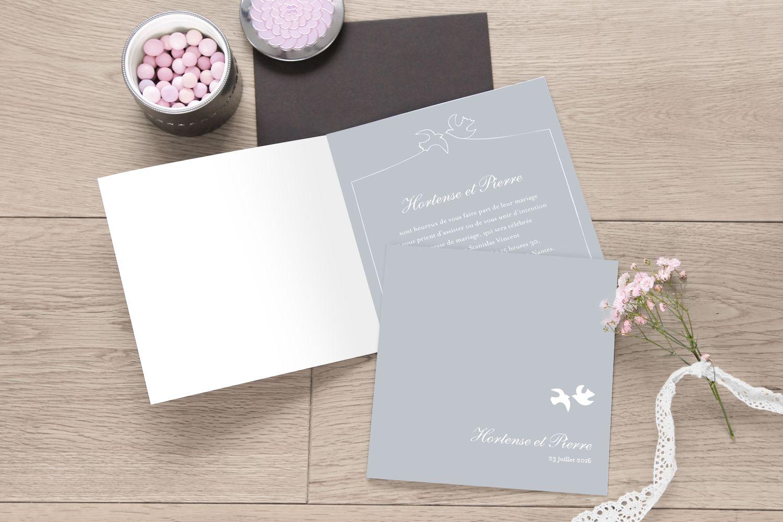 carton d'invitation mariage colombes gris by Tomoë pour Rosemood.fr #fairepart #mariage #wedding