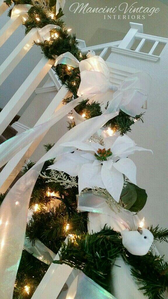 All white Christmas Garland Decor Banister Staircase