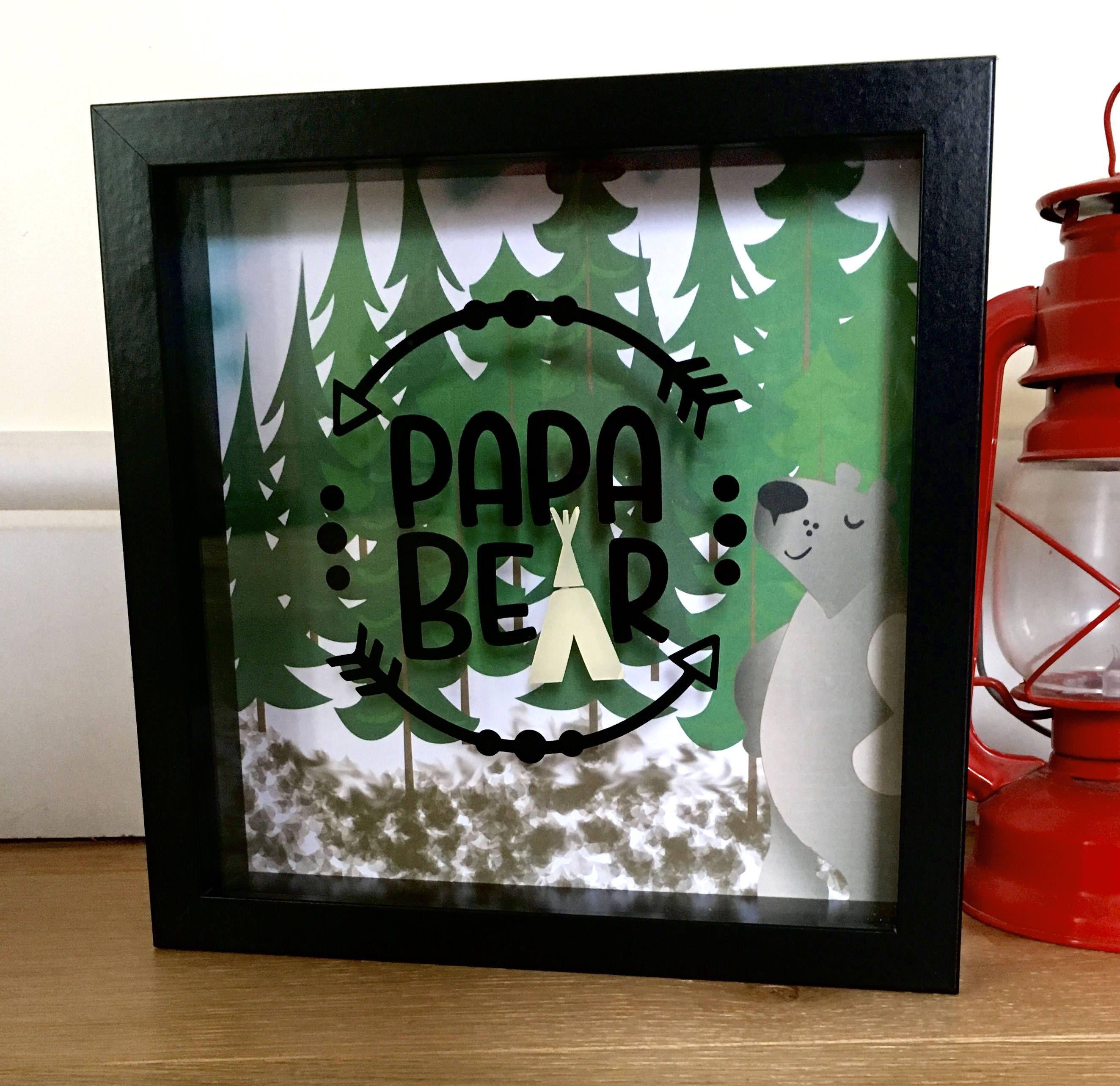 Papa bear shadow box frame black frame bear art gifts for him papa bear shadow box frame black frame bear art gifts for him negle Choice Image