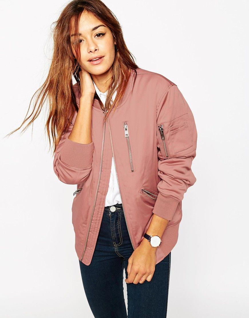 Cruz Dusty Pink Satin Bomber Jacket Image 1 | Fashion Must-Haves
