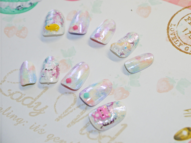 Japanese kawaii 3D nail art false nail, fake nails, white nail, cute ...