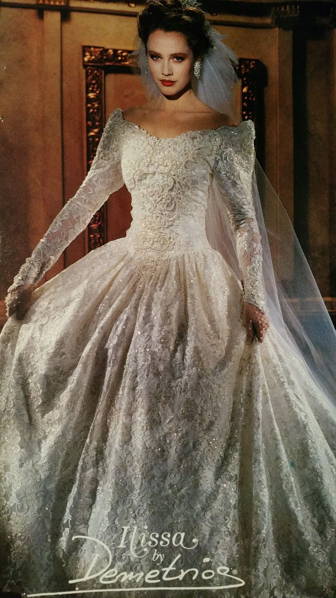 Demetrios 1992 Lace And Embroidery Allover Bridal Gowns Vintage Wedding Dresses 80s Retro Wedding Gown