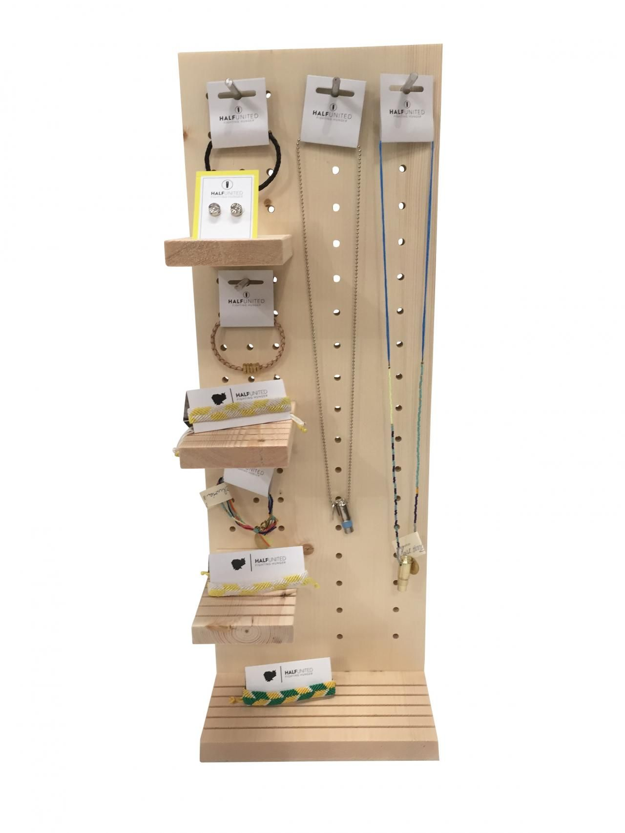 Rustic Wood Peg Board Hanging Jewelry Retail Counter Display With