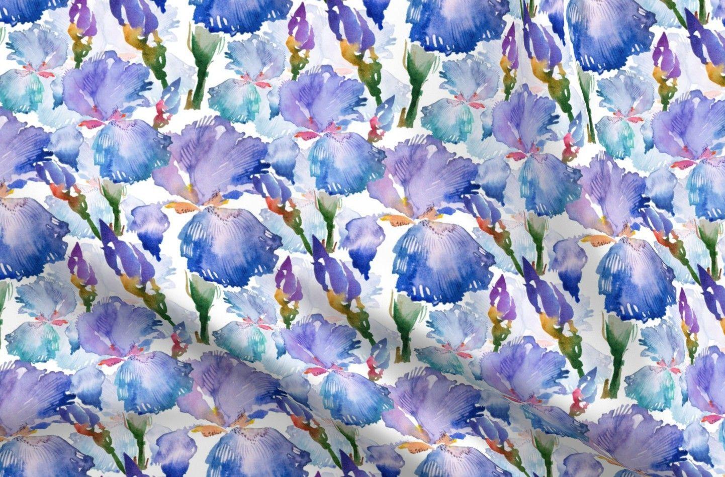 Watercolor Irises Cotton Fabric Swatch Iris Spring Flower Floral Botanical Flowers Blossom Su In 2020 Summer Plants Blossom Flower Spring Flowers