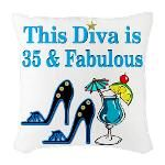 35TH PRIMA DONNA Burlap Throw Pillow