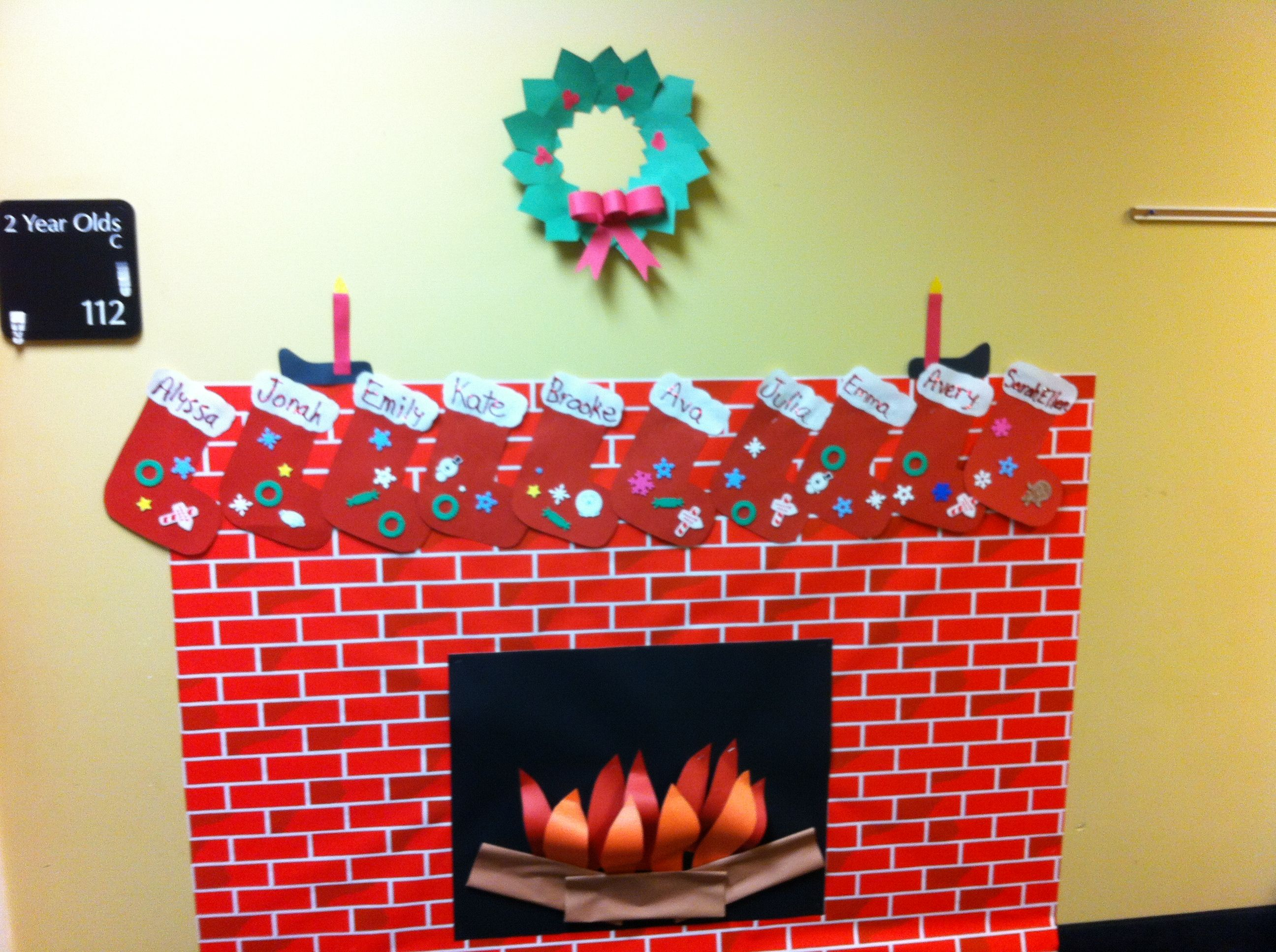 christmas fireplace with stockings for classroom classroom decor