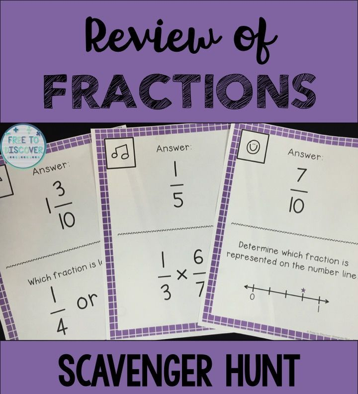 Fractions Review Scavenger Hunt Fractions Review Scavenger