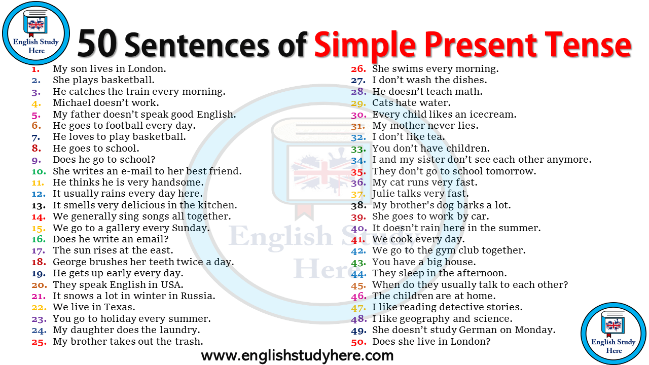 The Simple Present Tense Is When You Use A Verb To Tell About Things That Happen Continually In Simple Past Tense Simple Present Tense Simple English Sentences [ 720 x 1280 Pixel ]