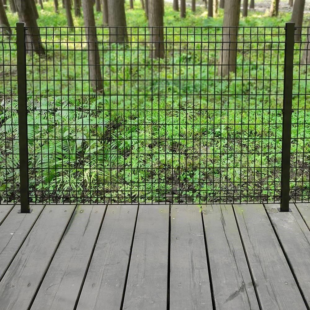 Forgeright Deco Grid 4 Ft X 6 Ft Steel Black Fence Panel Steel