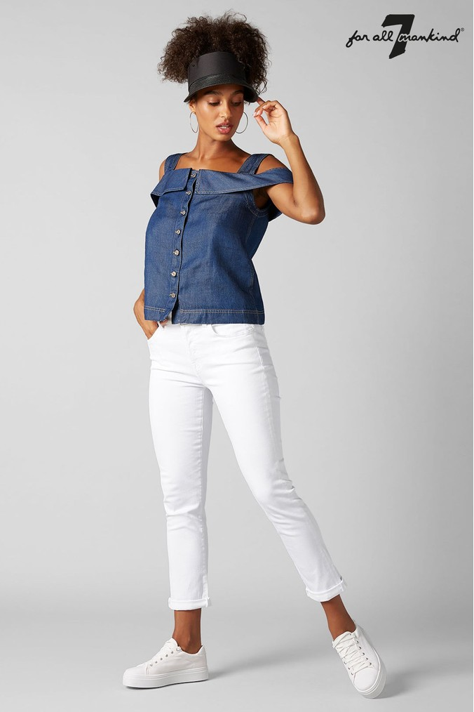 7 For All Mankind White Slim Relaxed Jean Boyfriend Jeans