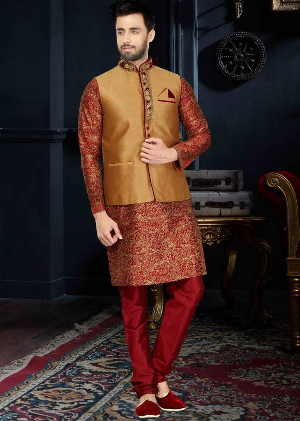 de5b736d644 Art #Silk readymade printed #kurta in #maroon along with #golden # nehruJacket designed with moulded buttons, lace and stone work.