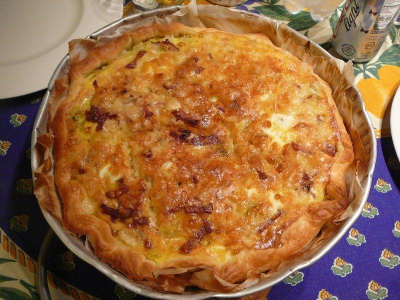 farine, beurre, eau, poireau, lardons, oeuf, fromage râpé, crême fraîche, Poivre, Sel
