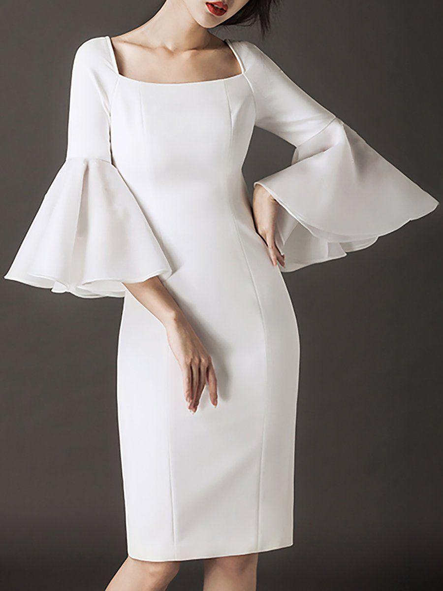 75b20d0b9aa Square Neck White Bodycon Elegant Party Paneled Midi Dress ...