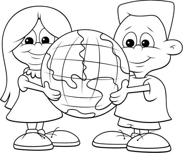 Dibujos del día de la Tierra para colorear para niños | Dando cor ao ...