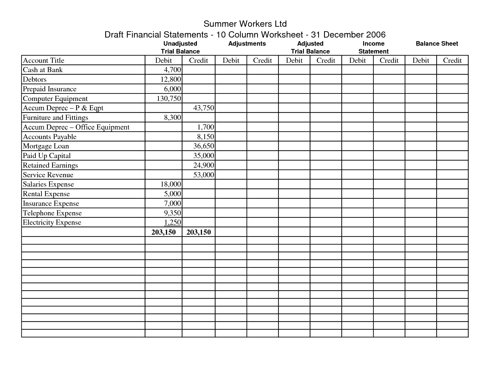 Blank 10 Column Accounting Worksheet Template In