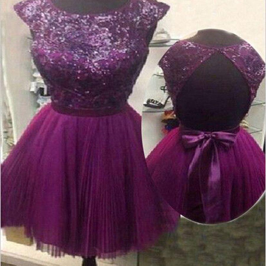 Cap Sleeve Short Purple Prom Dresses