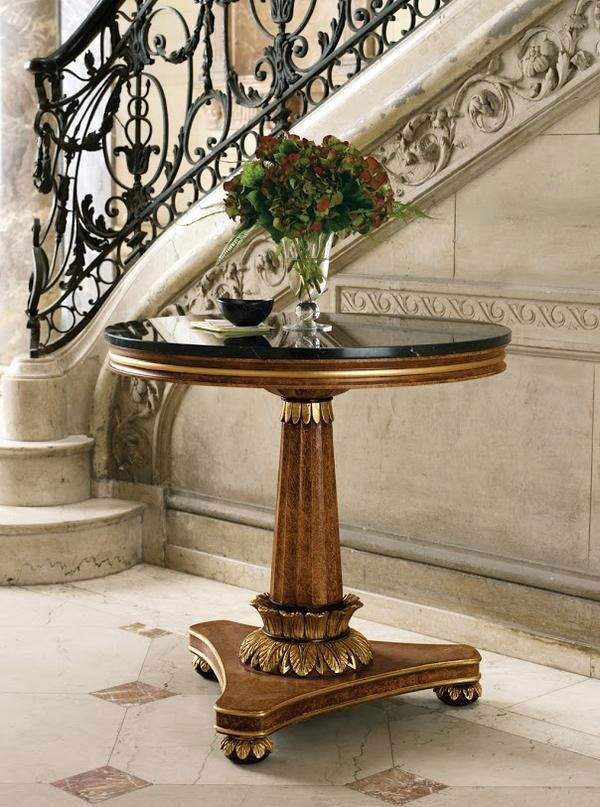 Home Entry Decor Featuring Biedermeier Style Table With Black Marquina Marble  Top; Home Entry Ideas