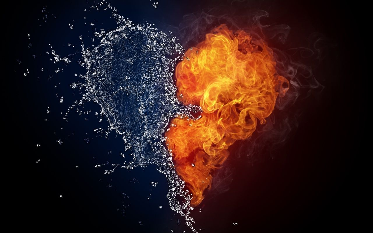 Elements Of Love Fire Heart Water Art Heart Wallpaper