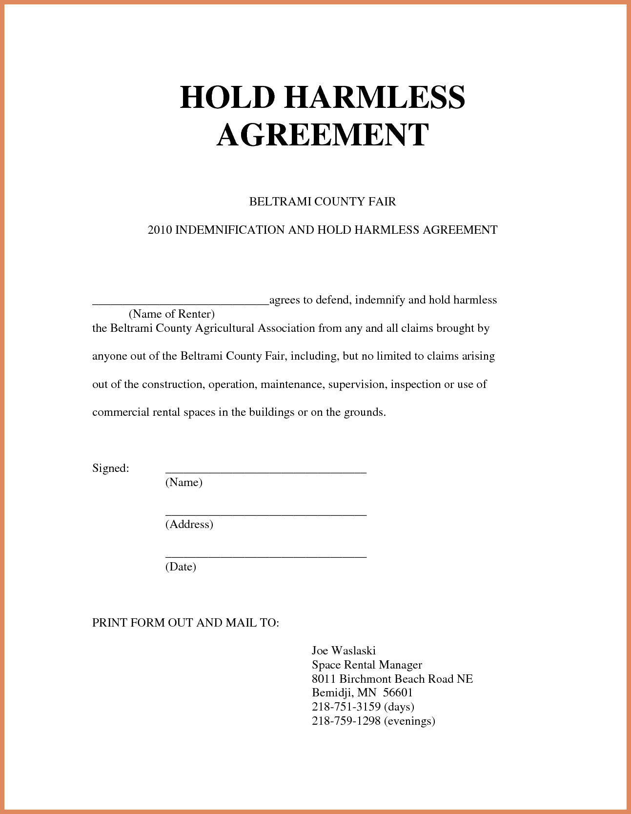 Hold Harmless Agreement Sample Hold Harmless Agreement Sample
