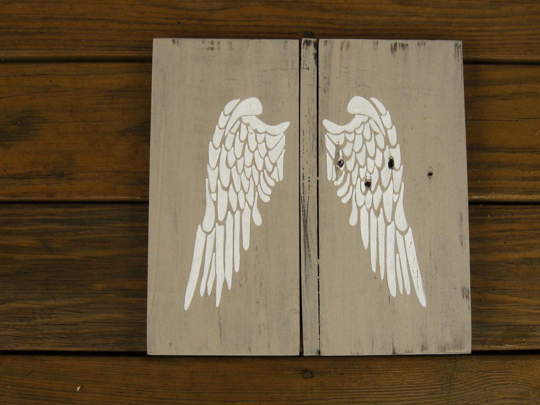 Vintage inspired angel wings wall art rustic wood sign angel wall