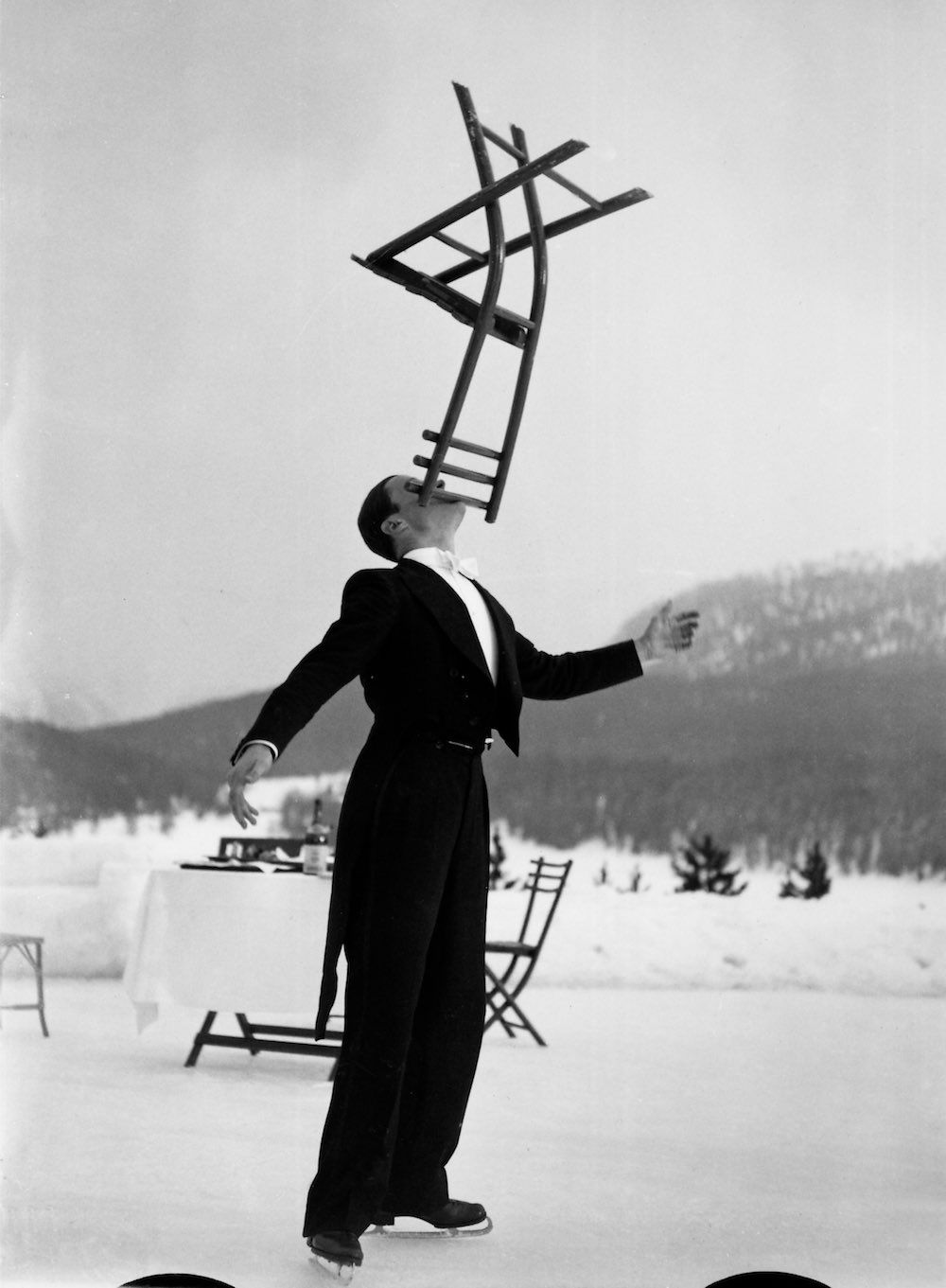 The ice skating waiters of the Grand Hotel in St. Moritz, Switzerland, were a popular attraction in the 1930s.