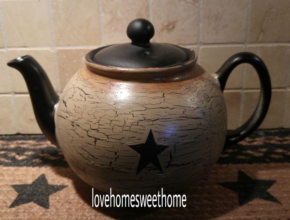 Primitive Crackle Tan Black Star Ceramic Teapot Country Decor Tea Pots Ceramic Teapots Ceramic Soap Dispenser