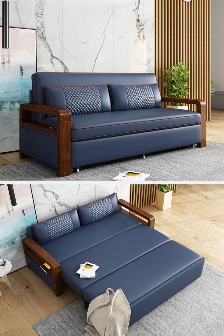 Navy Small Sofa Transitional Bed 2 Seater Sofa In 2020 Couches Living Room Comfy Sofa Bed Guest Room Small Sofa