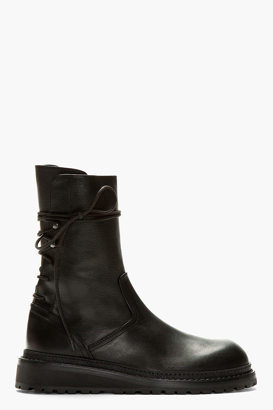 Black Tall Lace-Up Boots Ann Demeulemeester 06u4Ik9KdG