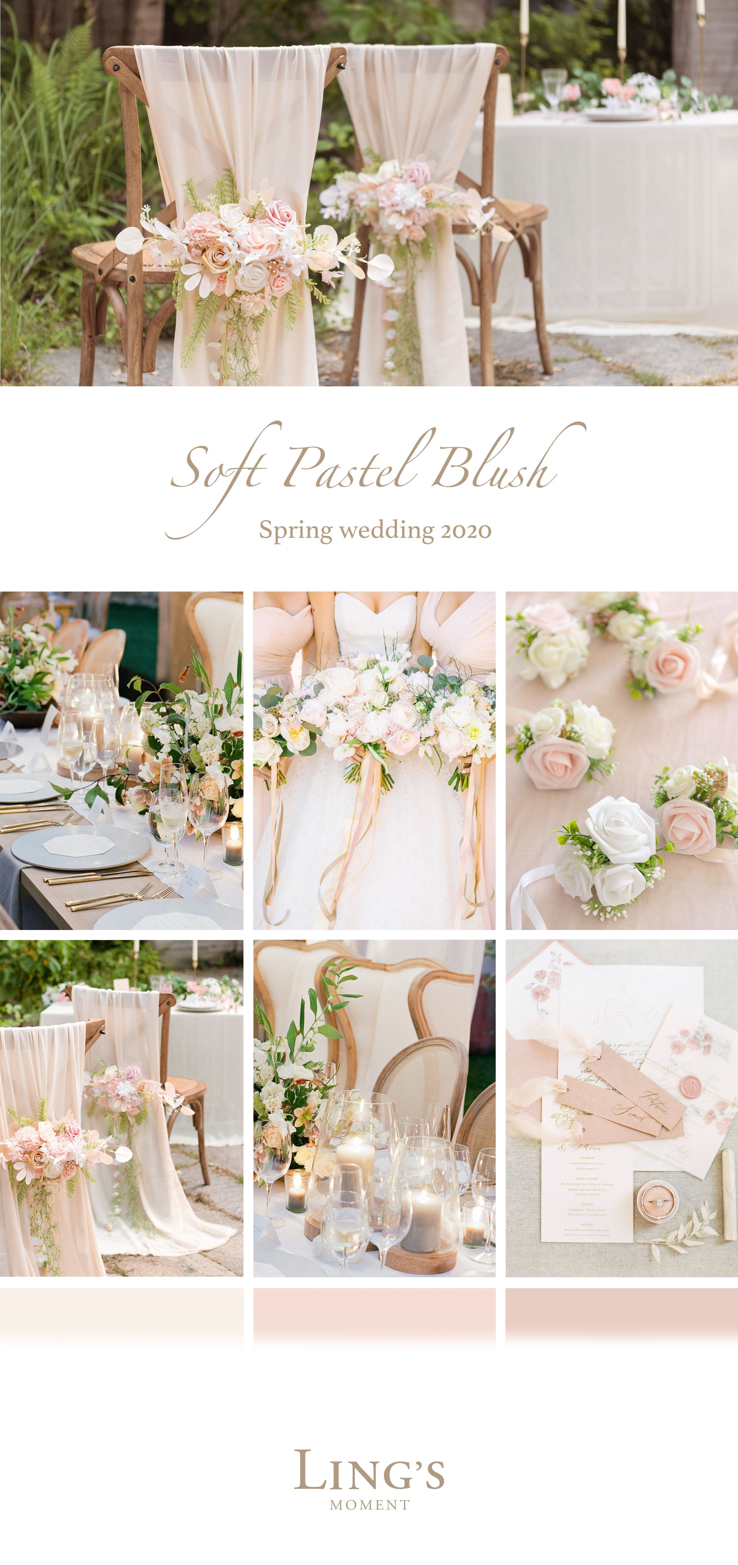 2020 Trendy Blush Pink Wedding Palette. More Realistic Flowers 10%Off