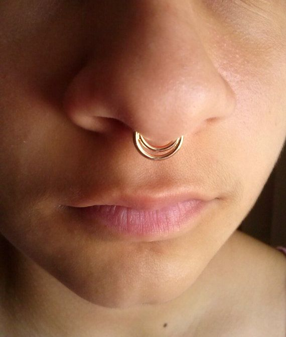 Double Septum Ring Septum Ring Nose Ring Nose Piercing 14k Septum Ring 16g Nose Hoop Septum Piercing Tribal Septum Ring Anneau De Septum Septum Anneau