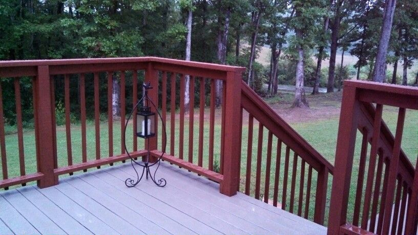 Deck Restoration Using Rustoleum S Re In Color Winchester Rails Sherwin Williams Cider Mill Stain