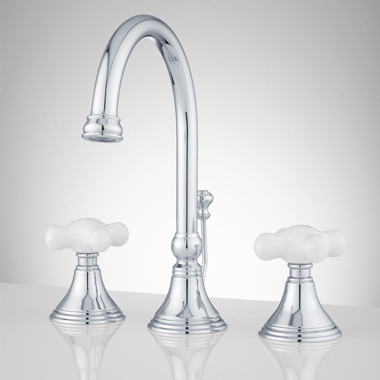 Melanie Widespread Gooseneck Bathroom Faucet Large Porcelain