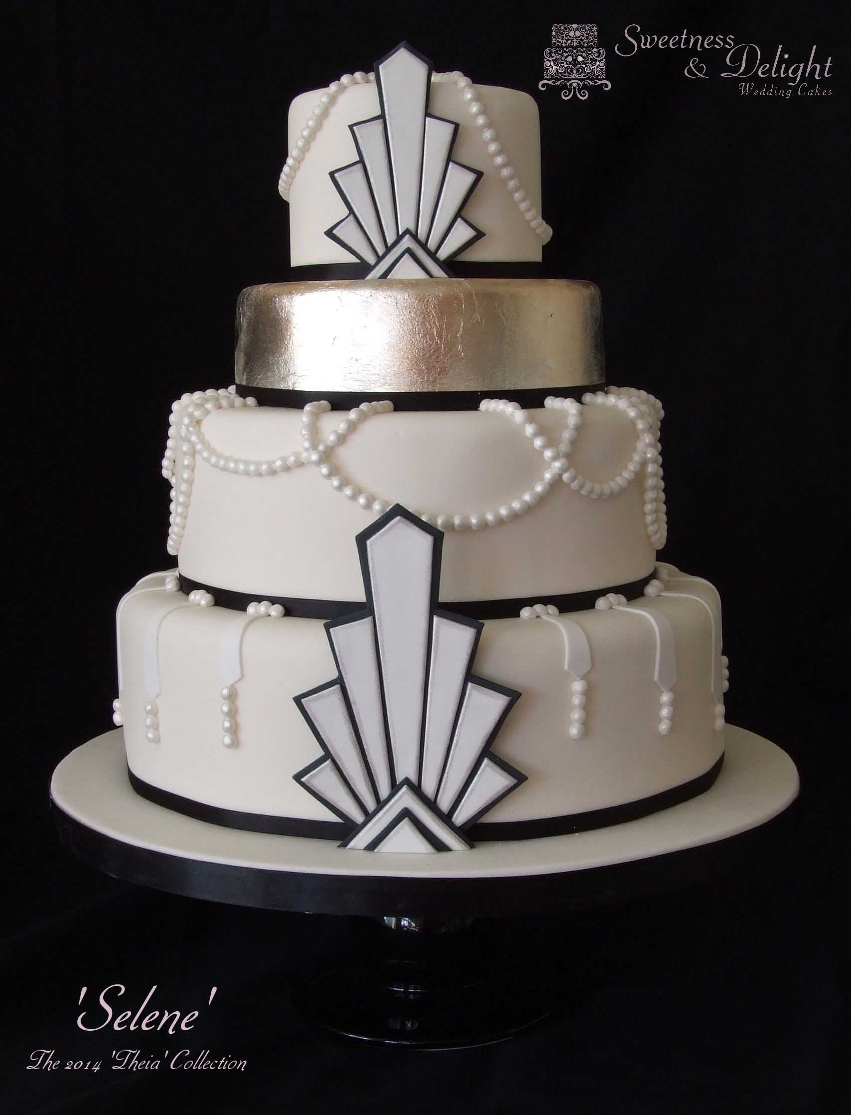 Gatsby art deco 1920s themed wedding cake with edible for Art cake decoration