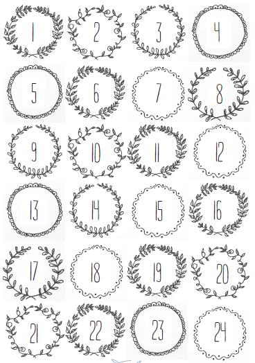 Numéros Du Calendrier De Lavent à Imprimer Calendrier De Lavent
