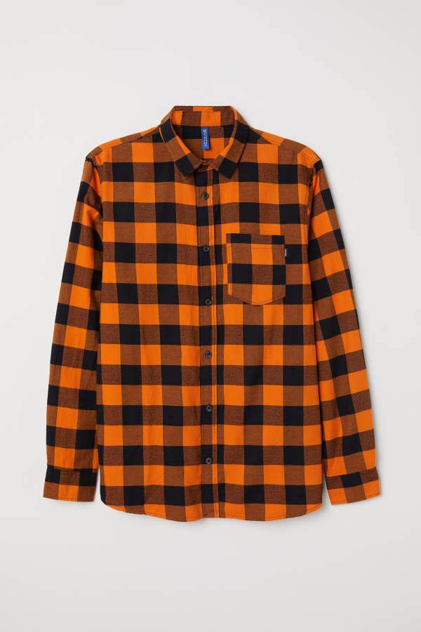 H M H   M - Plaid Flannel Shirt - Orange black - Men  64adc6500