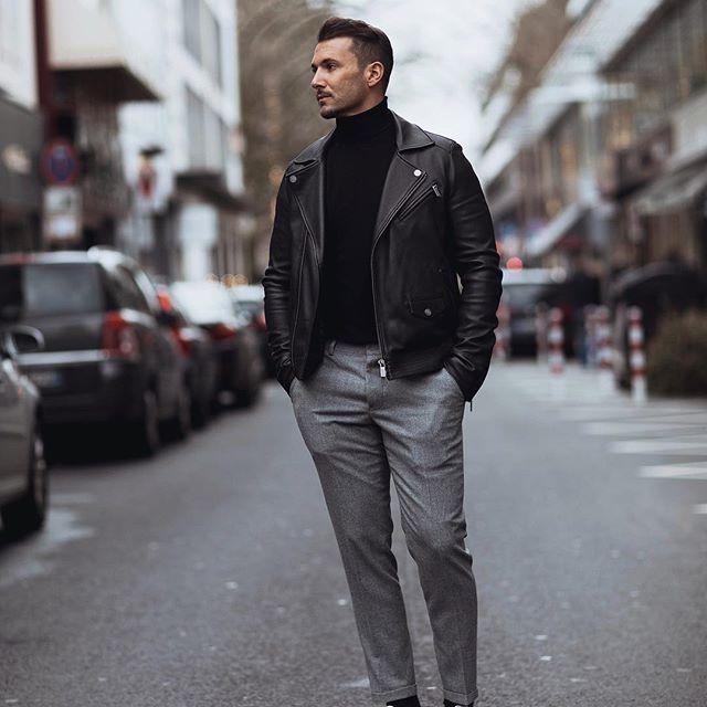 Mens Black Leather Jacket  #mensstyle