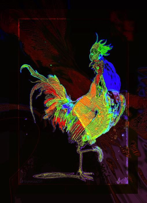 """Digital art, """"Rooster,"""" by Mimulux Patricia No, Fine Art America."""